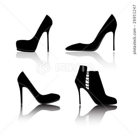 2a4963f5225a Shoes Silhouette on White Background Vector - Stock Illustration ...