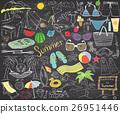 Summer season doodles elements. Hand drawn sketch 26951446