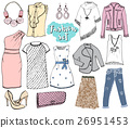 Fashion collection Doodles set. Hand Drawn Sketch 26951453