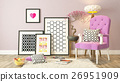 Black picture frames decor with pink bergere 26951909