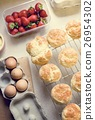 Baked Scone Pastry Eggs Strawberry Concept 26954302