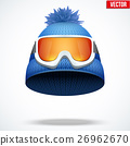 Knitted woolen red cap with snow goggles. 26962670