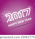 2017 Happy New Year on pink background 26962779