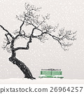 Lonely tree on a snow-covered bench 26964257