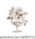 Glass vase with flowers. Watercolor illustration 6 26964713