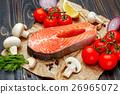 Fresh Raw Salmon Red Fish Steak 26965072