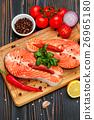 Fresh Raw Salmon Red Fish Steak 26965180