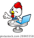 Chicken Character working on a computer  26965558