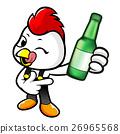 Chicken Character holding a distilled spirits. 26965568