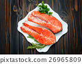 Fresh Raw Salmon Red Fish Steak 26965809