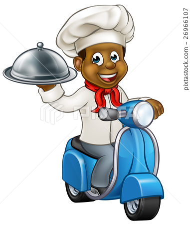 Cartoon Black Delivery Moped Scooter Chef 26966107