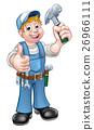 Cartoon Carpenter Handyman Holding Hammer 26966111