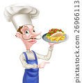 Cartoon Chef With Pita Kebab and Fries 26966113