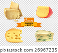 Cheese 4 Realistic Images Transparent Set 26967235
