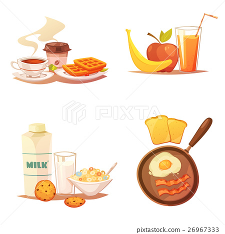 Four Breakfast Icons Compositions 26967333