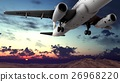 Generic jet airliner in a beautiful cloudy sky 3d 26968220