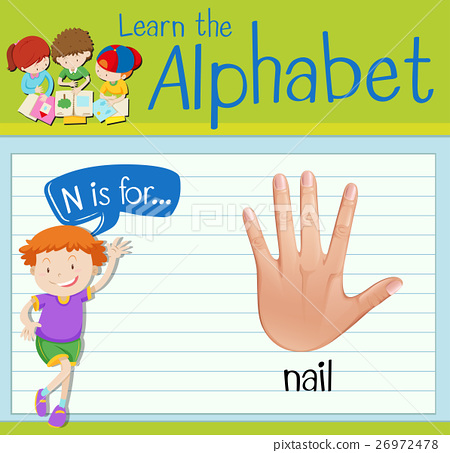 Flashcard letter N is for nail 26972478
