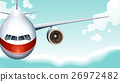 Scene with airplane flying in sky 26972482
