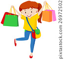 Teenager with lots of shopping bags 26972502