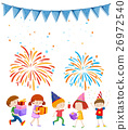 Kids at party with firework background 26972540
