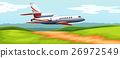 Scene with airplane flying over the field 26972549
