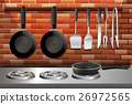 Kitchen scene with pots and stoves 26972565