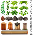 Different types of leaves and rocks 26972573