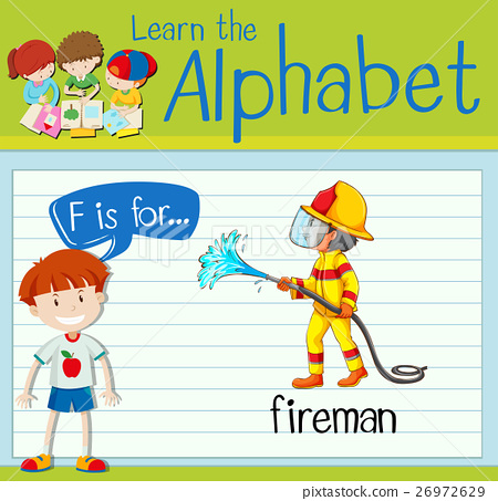 Flashcard letter F is for fireman 26972629
