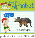 Flashcard letter T is for triceratops 26972640