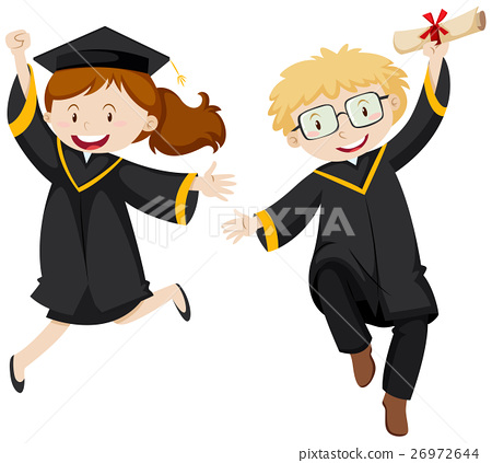 Man and woman in black graduation gown 26972644