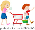 Boy and mother shopping for grocery 26972665