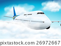 Scene with airplane flying in the sky 26972667