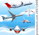 Many airplanes flying in the sky 26972668