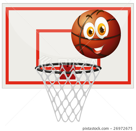 Basketball with happy face and net 26972675