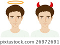 Men with evil horns and angel ring 26972691