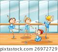 Four ballet dancers practice in the room 26972729