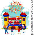Many children jumping on bouncing castle 26972732