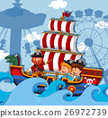 Scene with kids on viking ship 26972739