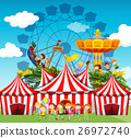 Circus scene with children and rides 26972740