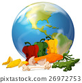 Global warming theme with earth and rotten food 26972753