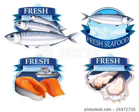 Label design with word and seafood 26972756