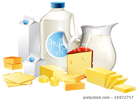 Different types of dairy products 26972757