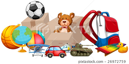 Different types of toys in one pile 26972759