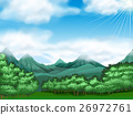 Forest scene with trees and mountains 26972761