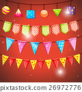 Colorful flags and ball on red background 26972776