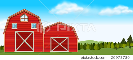 Farm scene with barns in field 26972780