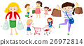People with shopping bags and cart 26972814