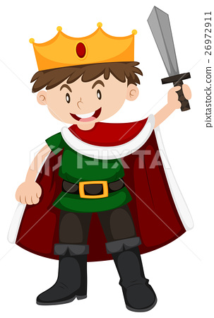 Boy in prince costume holding sword 26972911