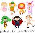 Many children in different costumes 26972922