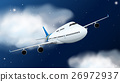 Airplane flying in the sky at night 26972937